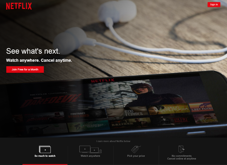 web design trends 2016 Netflix photo background