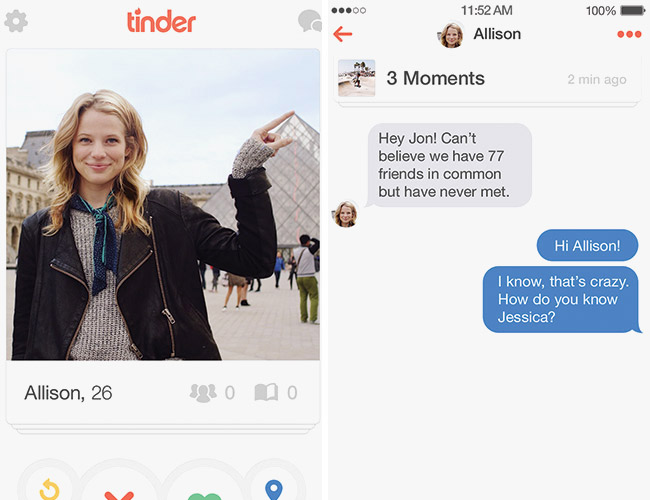 web design trends 2016 Tinder touch enabled interface