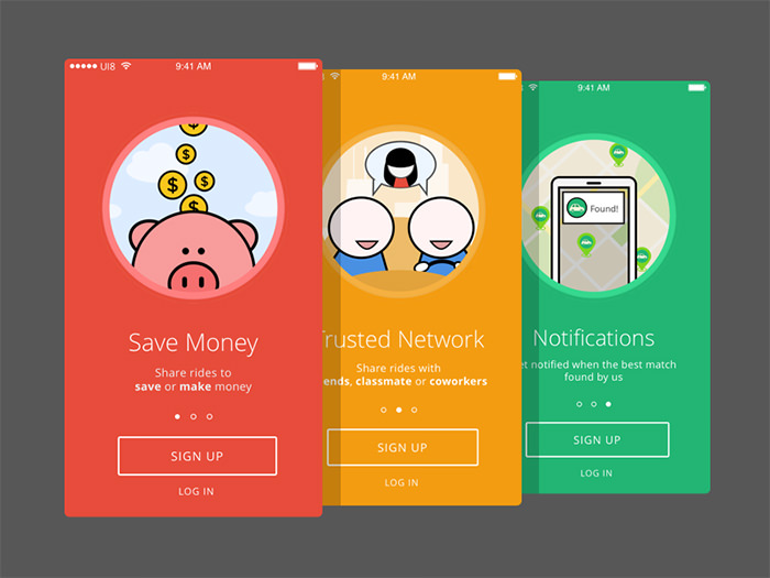 mobile app design colorful inllustrations