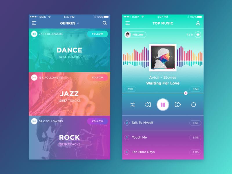 mobile app design colourful gradient
