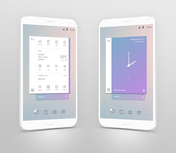 mobile app design pastel colors