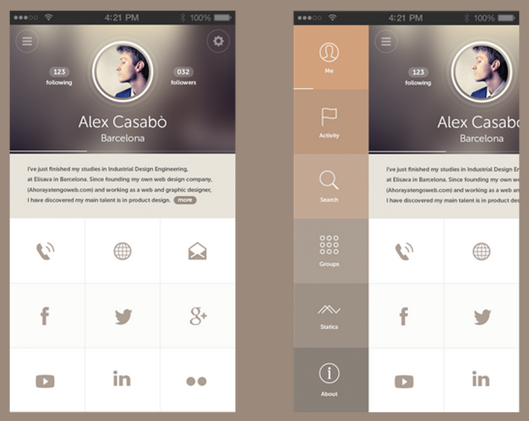 mobile app design shades color scheme