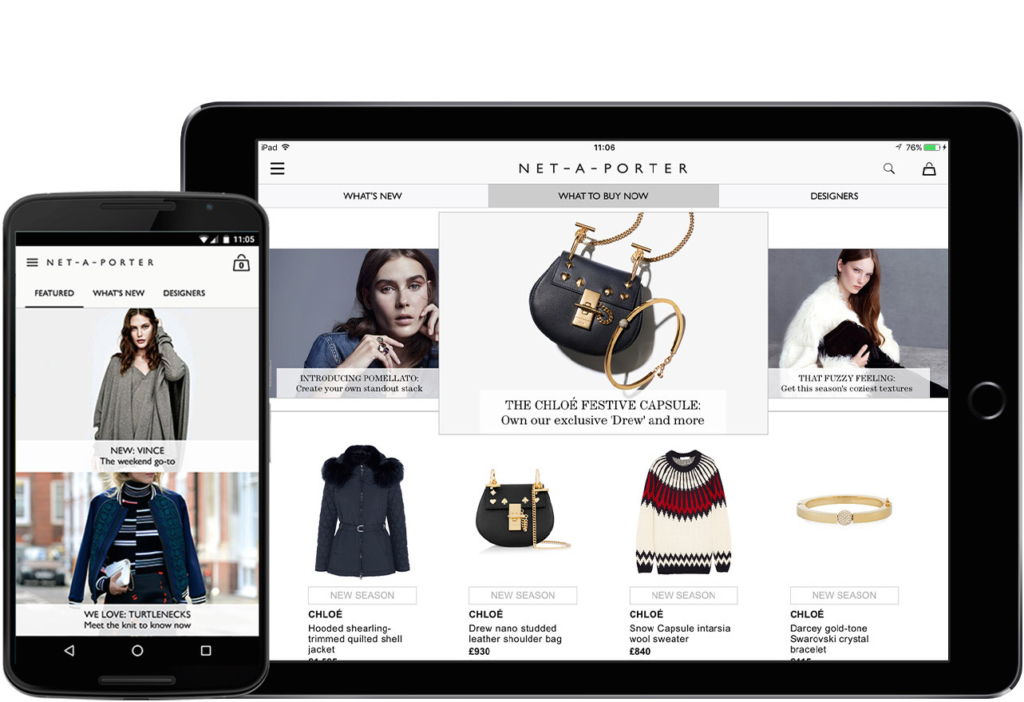 Net-A-Porter mobile app - retail mobile app development