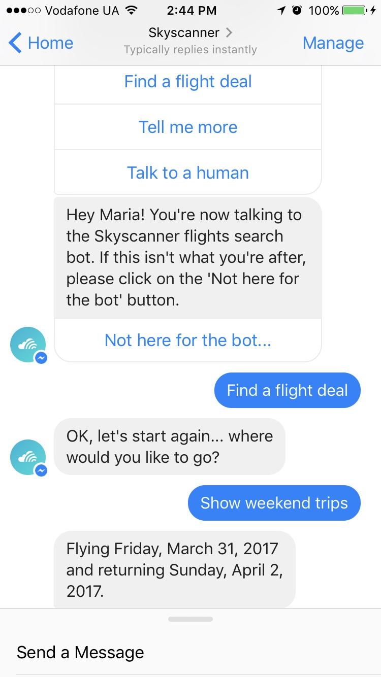 Skyscanner Best Chatbot Apps 2017 by Adoriasoft Blog